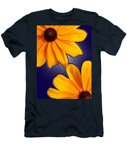 Black-eyed Susans On Blue Men's T-Shirt (Athletic Fit)