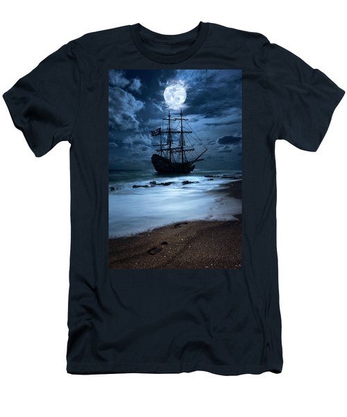 Black Pearl Pirate Ship Landing Under Full Moon Men's T-Shirt (Athletic Fit)