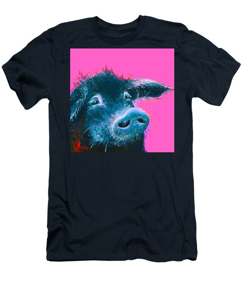 Black Pig Painting On Pink Background Men's T-Shirt (Athletic Fit)