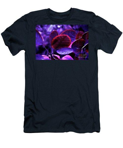 Men's T-Shirt (Athletic Fit) featuring the photograph Bleeding Violet Smoke Bush Leaves - Pantone Violet Ec by Silva Wischeropp