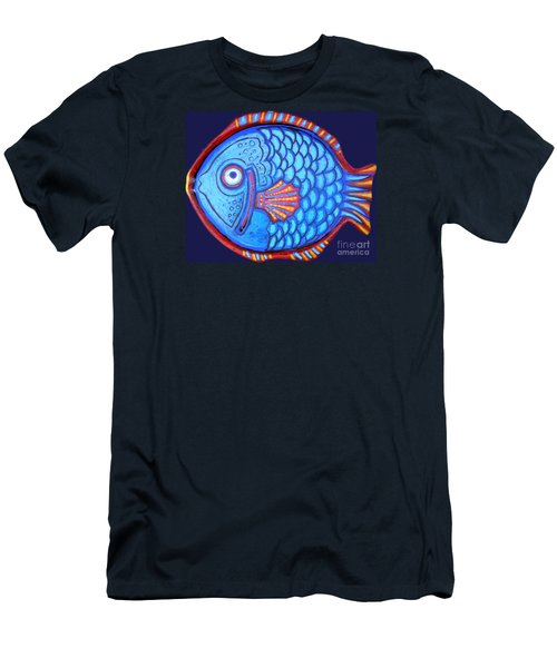 Blue And Red Fish Men's T-Shirt (Slim Fit) by Genevieve Esson