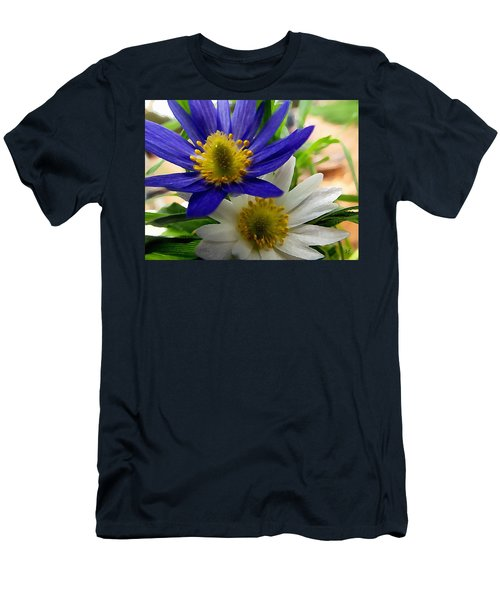 Blue And White Anemones Men's T-Shirt (Athletic Fit)