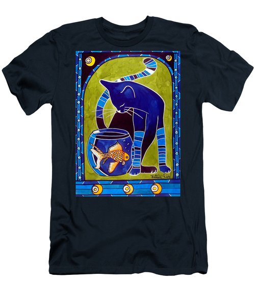 Blue Cat With Goldfish Men's T-Shirt (Athletic Fit)