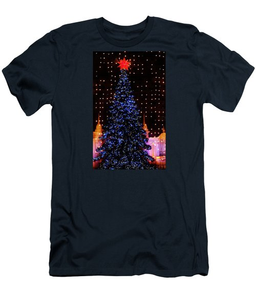 Blue Christmas Tree Men's T-Shirt (Athletic Fit)