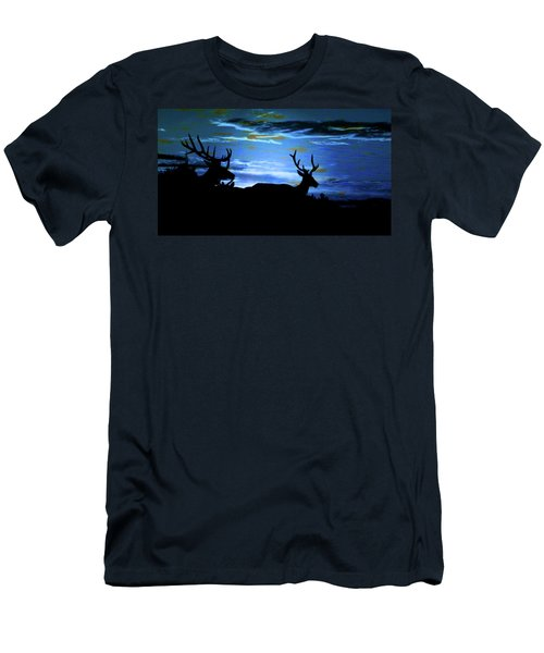 Men's T-Shirt (Slim Fit) featuring the mixed media Blue Elk Dreamscape by Mike Breau