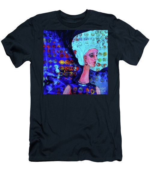 Blue Haired Girl On Windy Day Men's T-Shirt (Athletic Fit)