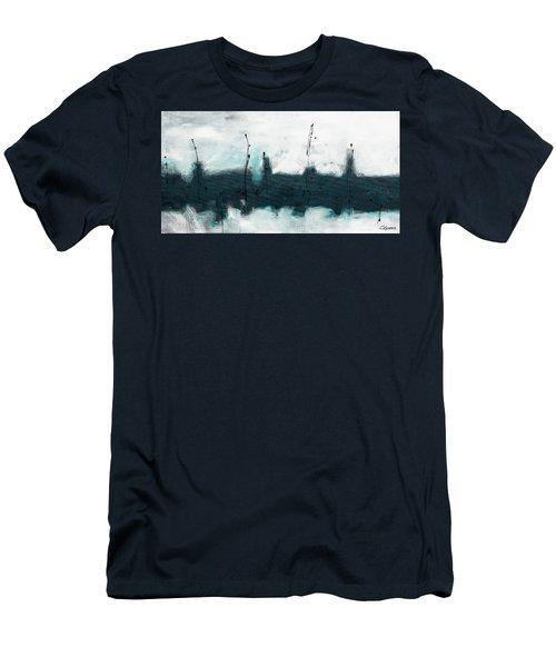 Men's T-Shirt (Slim Fit) featuring the painting Blue Harbour by Carmen Guedez