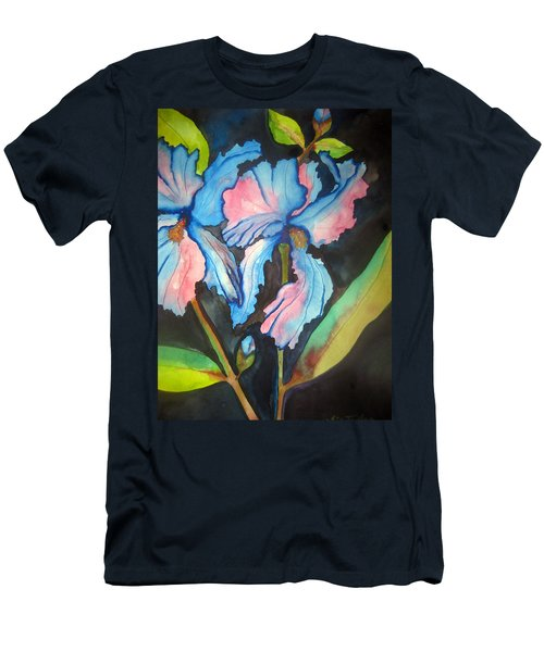 Men's T-Shirt (Slim Fit) featuring the painting Blue Iris by Lil Taylor