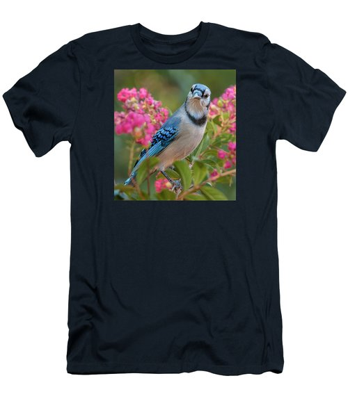 Men's T-Shirt (Slim Fit) featuring the photograph Blue Jay In Crepe Myrtle by Jim Moore