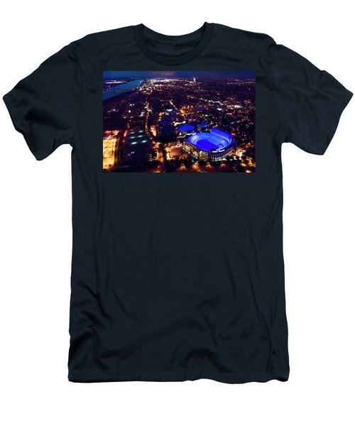 Blue Lsu Tiger Stadium Men's T-Shirt (Slim Fit) by Andy Crawford
