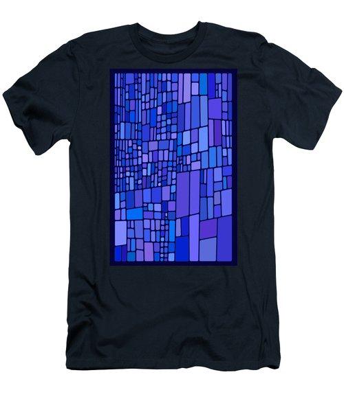 Blue Mondrian Men's T-Shirt (Athletic Fit)