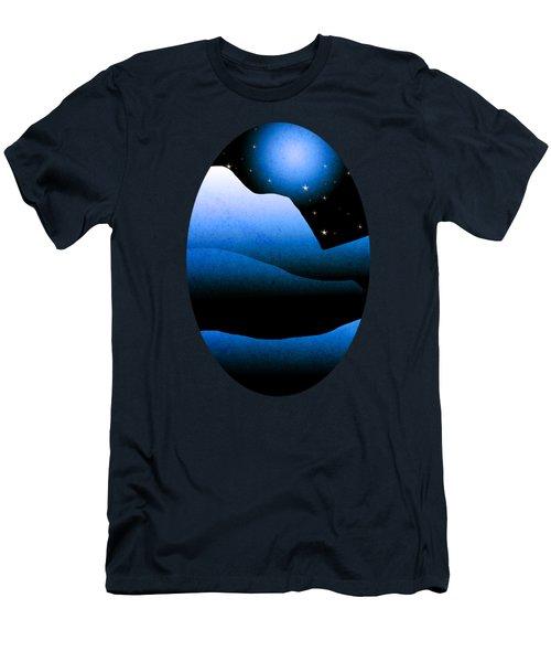 Blue Moon Mountain Landscape Art Men's T-Shirt (Athletic Fit)