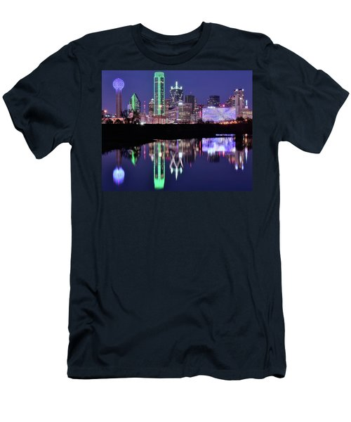 Men's T-Shirt (Slim Fit) featuring the photograph Blue Night And Reflections In Dallas by Frozen in Time Fine Art Photography