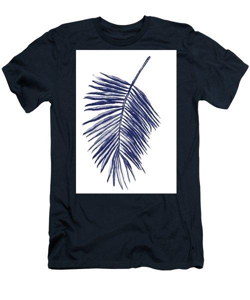 Blue Palm Leaf Painting Men's T-Shirt (Athletic Fit)