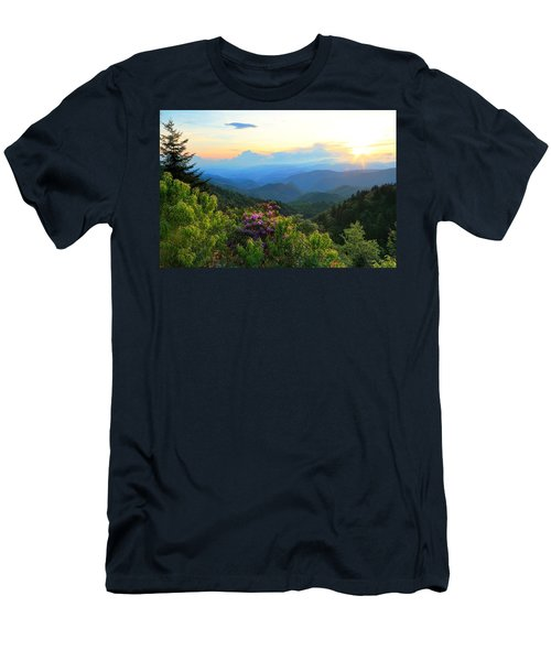 Blue Ridge Parkway And Rhododendron  Men's T-Shirt (Athletic Fit)