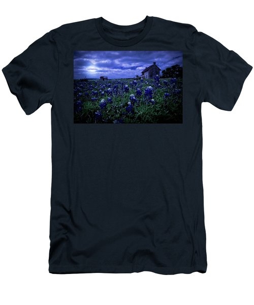 Men's T-Shirt (Slim Fit) featuring the photograph Bluebonnets In The Blue Hour by Linda Unger