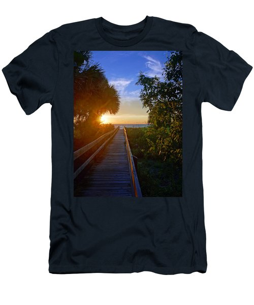 Sunset At The End Of The Boardwalk Men's T-Shirt (Slim Fit) by Robb Stan