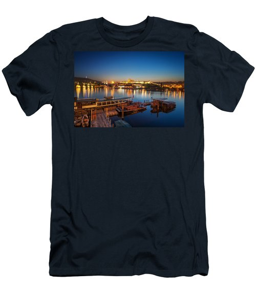 Boat Dock Near St. Vitus Cathedral, Prague, Czech Republic. Men's T-Shirt (Athletic Fit)