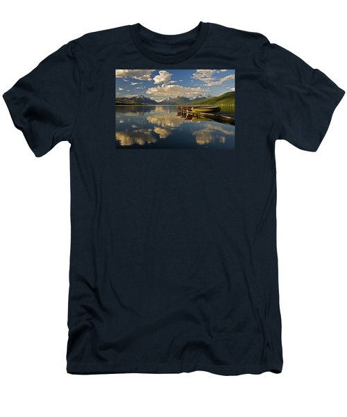 Boats At Lake Mcdonald Men's T-Shirt (Slim Fit) by Gary Lengyel