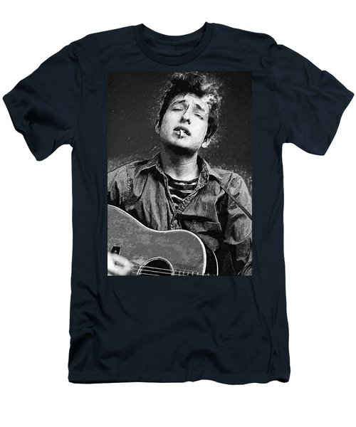 Men's T-Shirt (Athletic Fit) featuring the digital art Bob Dylan by Taylan Apukovska