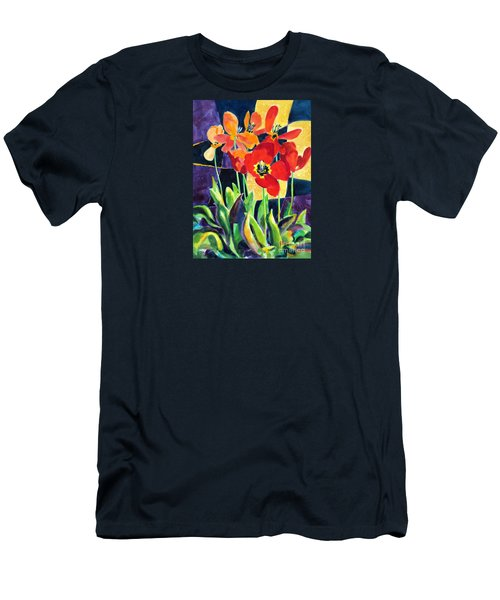 Bold Quilted Tulips Men's T-Shirt (Athletic Fit)
