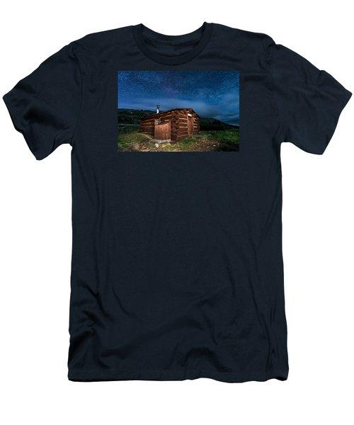 Boreas Pass Cabin Moonlit Night Men's T-Shirt (Slim Fit) by Michael J Bauer