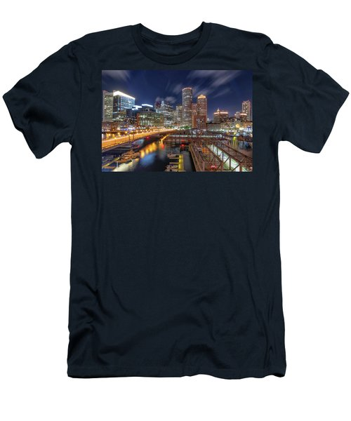 Boston's Skyline At Night Men's T-Shirt (Athletic Fit)