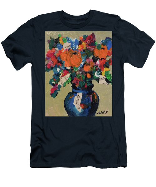 Men's T-Shirt (Slim Fit) featuring the painting Bouquet-a-day #8 Original Mixed Media Painting On Canvas 70.00 Incl Shipping By Elaine Elliott by Elaine Elliott