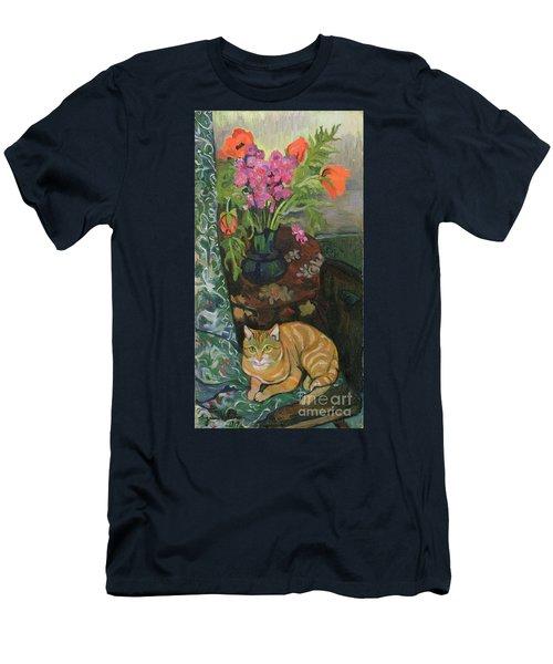 Bouquet And A Cat Men's T-Shirt (Athletic Fit)