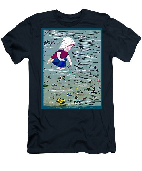 Men's T-Shirt (Slim Fit) featuring the painting Boy On Beach by Desline Vitto