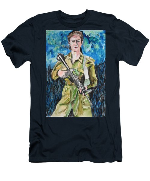 Men's T-Shirt (Athletic Fit) featuring the painting Bravado, An Israeli Woman Soldier by Esther Newman-Cohen