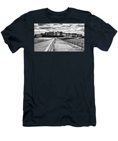 Men's T-Shirt (Athletic Fit) featuring the photograph Breakwater Walkway To Intra Muros by Elf Evans