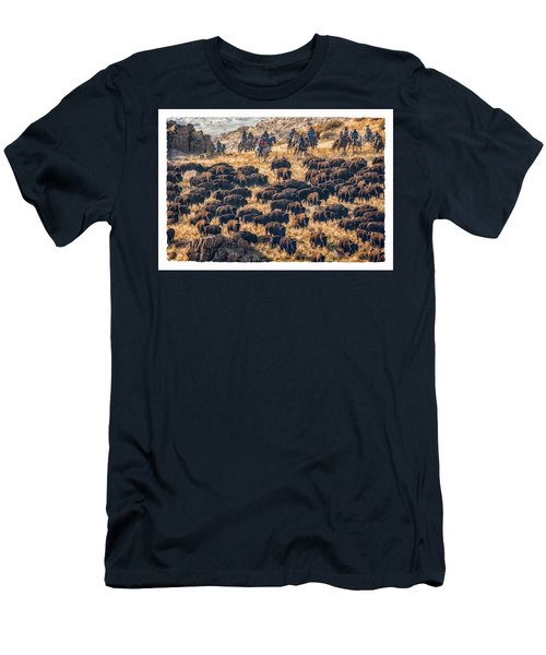 Men's T-Shirt (Slim Fit) featuring the photograph Buffalo Roundup by Kristal Kraft