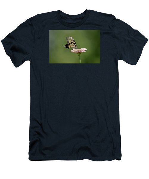 Men's T-Shirt (Slim Fit) featuring the photograph Butterfly On Zinnia by Wanda Krack