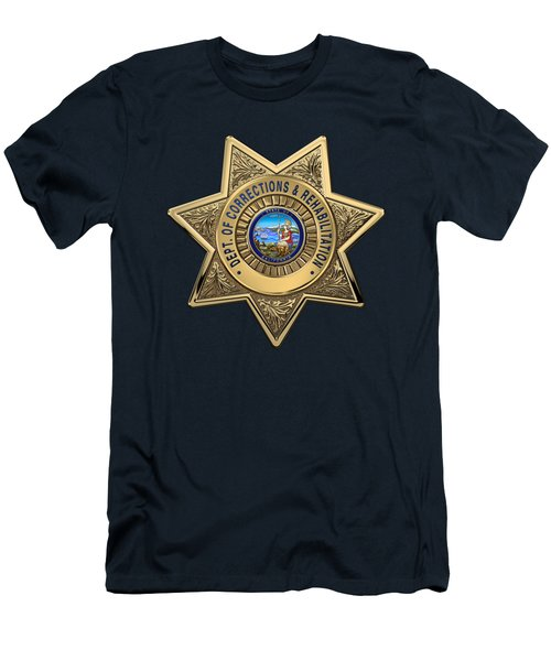 Men's T-Shirt (Slim Fit) featuring the digital art California Department Of Corrections And Rehabilitation - C D C R  Officer Badge Over Blue Velvet by Serge Averbukh