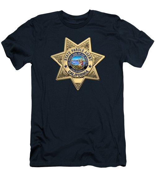 California State Parole Agent Badge Over Blue Velvet Men's T-Shirt (Slim Fit) by Serge Averbukh