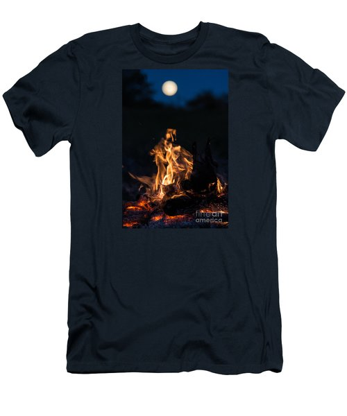 Camp Fire And Full Moon Men's T-Shirt (Slim Fit) by Cheryl Baxter
