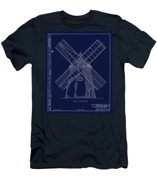 Men's T-Shirt (Slim Fit) featuring the photograph Historic Cape Cod Windmill Blueprint by John Stephens
