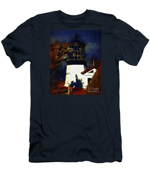Men's T-Shirt (Slim Fit) featuring the digital art Cape Meares Lighthouse In Gothic by Kirt Tisdale