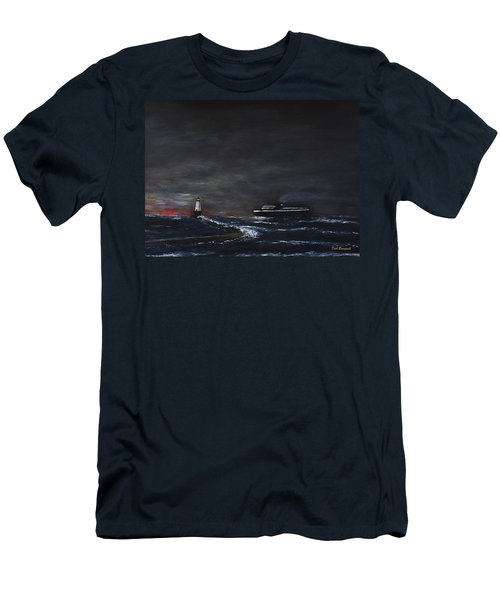 Car Ferry Badger November Crossing Men's T-Shirt (Slim Fit) by Dick Bourgault