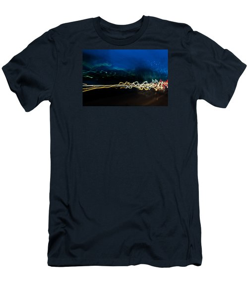 Car Light Trails At Dusk In City Men's T-Shirt (Slim Fit) by John Williams