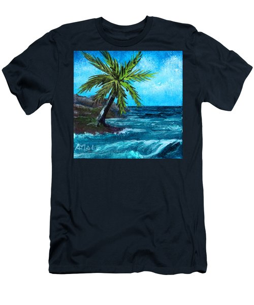 Men's T-Shirt (Athletic Fit) featuring the painting Caribbean Vacation #1 by Anastasiya Malakhova