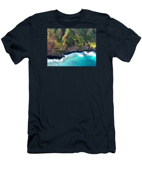 Men's T-Shirt (Slim Fit) featuring the photograph Cascading To The Sea by Brenda Pressnall