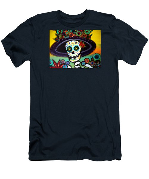 Men's T-Shirt (Slim Fit) featuring the painting Catrina by Pristine Cartera Turkus