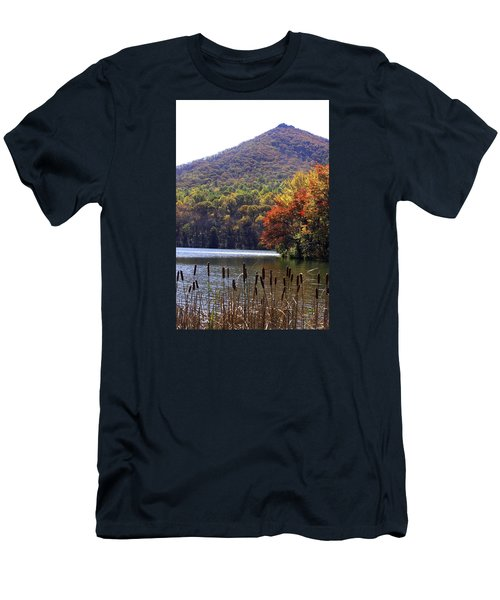 Men's T-Shirt (Slim Fit) featuring the photograph Cattails By Lake With Sharp Top In Background by Emanuel Tanjala