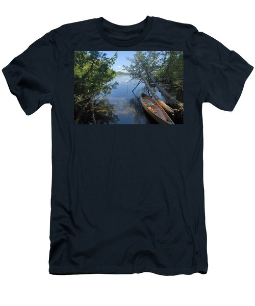 Cedar Strip Canoe And Cedars At Hanson Lake Men's T-Shirt (Slim Fit) by Larry Ricker