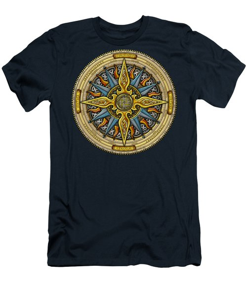 Men's T-Shirt (Slim Fit) featuring the mixed media Celtic Compass by Kristen Fox