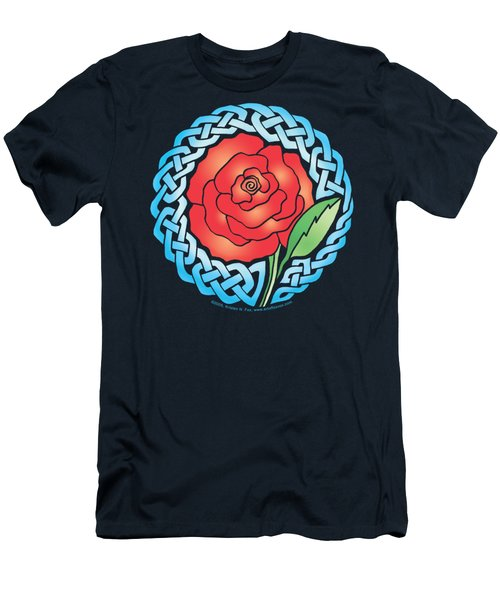 Men's T-Shirt (Slim Fit) featuring the mixed media Celtic Rose Stained Glass by Kristen Fox