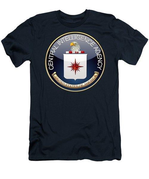 Central Intelligence Agency - C I A Emblem On Blue Velvet Men's T-Shirt (Athletic Fit)
