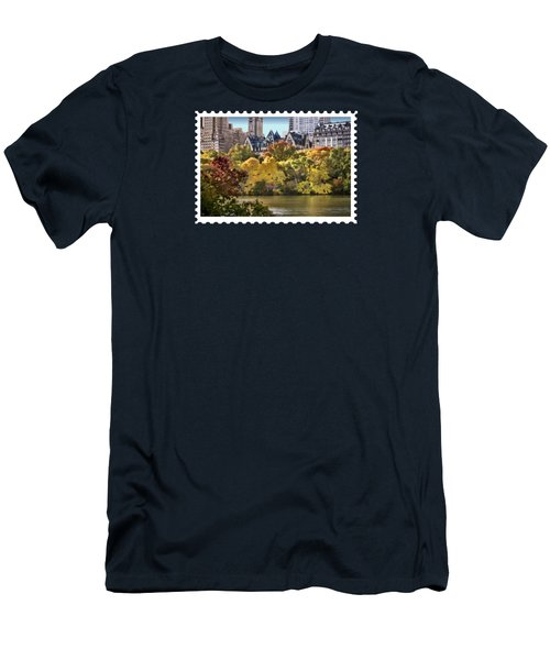 Central Park Lake In Fall Men's T-Shirt (Slim Fit) by Elaine Plesser